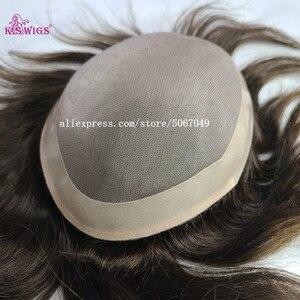 K.S парики для мужчин тонкие моно чистые ПУ вокруг естественного вида волосяные линии прочные шиньоны Remy человеческие волосы заменить мужск...