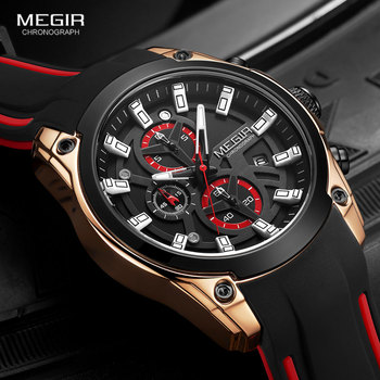 MEGIR Fashion Watches Men Silicone Strap Chronograph Quartz Watch Luxury Top Brand Military Sport Wristwatch Luminous Waterproof