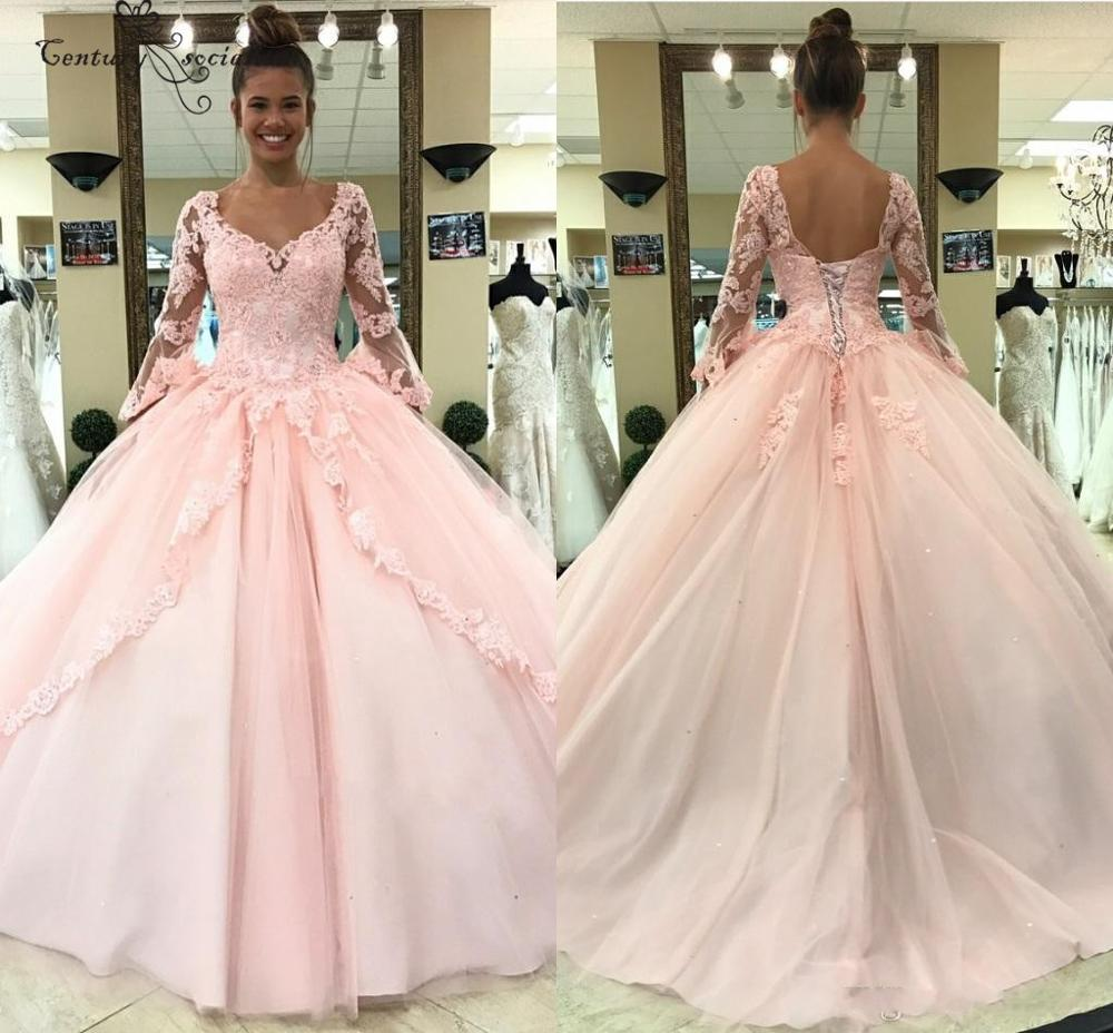 Long Sleeves Pink Quinceanera Dresses Ball Gown Lace Appliques Beaded Princess Sweet 16 Dress Birthday Party Gowns Pageant Gowns