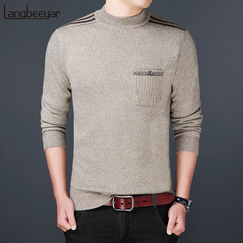 2020 New Fashion Brand Sweater Men Pullovers Turtleneck Slim Fit Jumpers Knitting Warm Autumn Korean Style Casual Men Clothes