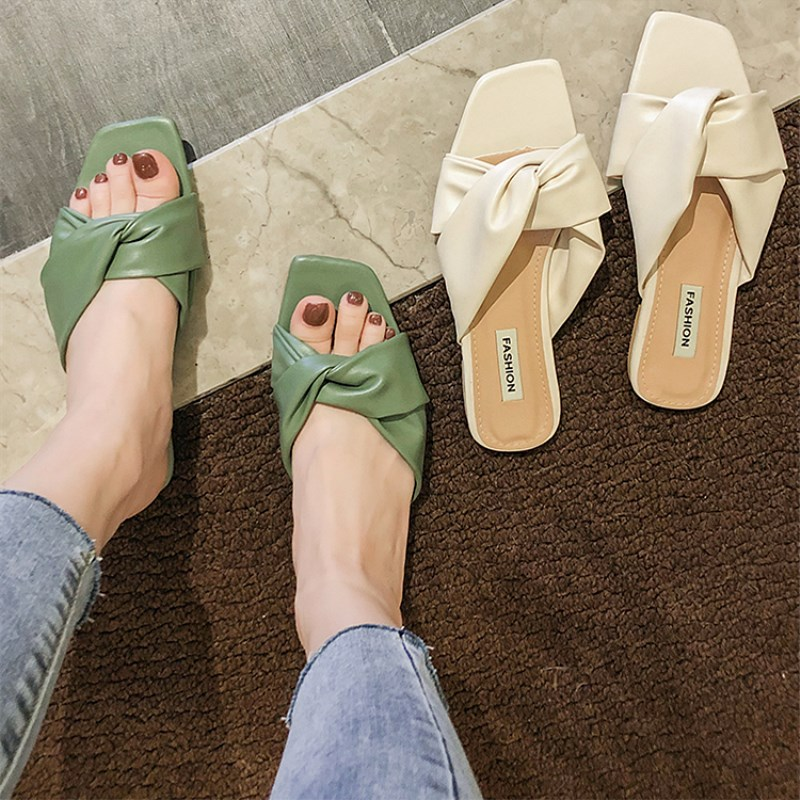 EOEODOIT Women Slippers Leather Sandals Summer Flat Heel Casual Outside Shoes Holiday Flats Drags Slides