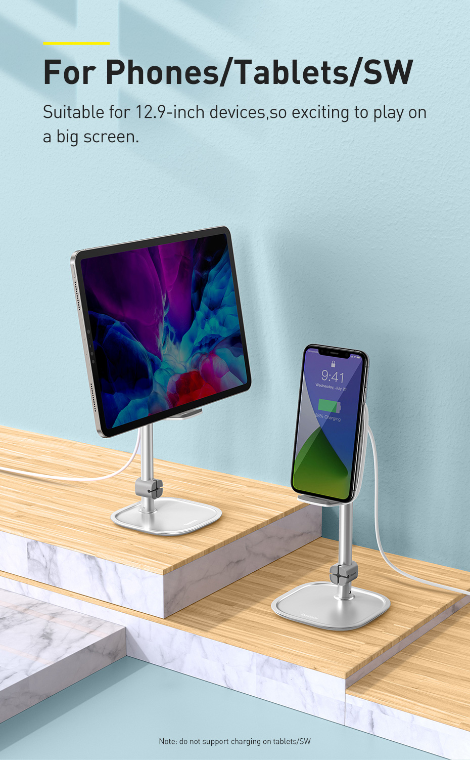 Baseus Qi Wireless Charger Adjustable Desk Phone Holder 15W Fast Wireless Charging Tablet Holder For iPhone iPad Samsung Xiaomi