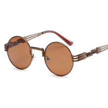 New Fashion Retro Steampunk Round Metal Sunglasses for Men and Women Double Spring Leg Colorful Eyewear UV400 Gothic Glasses