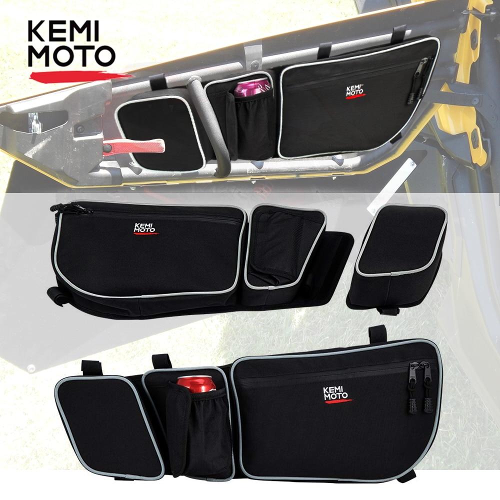 KEMIMOTO UTV Side Storage Bag Passengerand Driver Side Door Bags Knee Pad For Can Am Maverick X3 Max R Turbo DPS 4x4 2017 2018