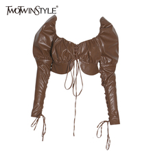 TWOTWINSTYLE 2019 Pu レザーちょう結び女性のシャツスクエア襟パフスリーブ包帯セクシーなパーティー女性の秋ファッション新