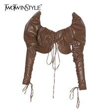 Pu TWOTWINSTYLE 2020 レザーちょう結び女性のシャツスクエア襟パフスリーブ包帯セクシーなパーティー女性の秋ファッション新