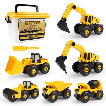 6 Styles Engineering Cars Assembly Toy Mini Diecast Plastic car Construction Vehicle Excavator Model Toys Kids Education Car