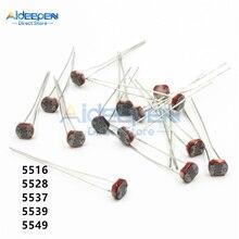 10 шт./лот 5516 5528 5537 5539 5549 светозависимый резистор LDR 5 мм Фоторезистор фоторезистор для Arduino