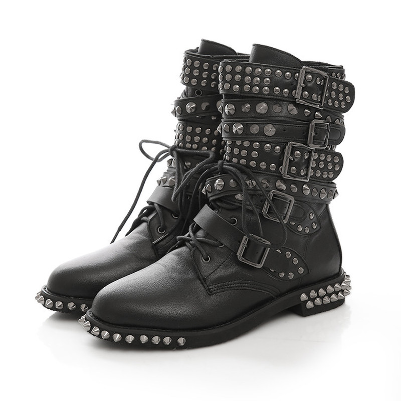 US4-11 Womens Round Toe RIvet Studs Belt Buckle Ankle Boots Genuine Leather Punk Shoes Motorcycle Black Plus Size C669