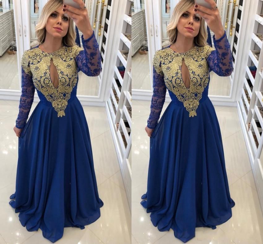 Robe De Soiree Vintage Royal Blue Gold Appliques Long Sleeves Mother Dresses Keyhole Neck Floor Length Formal Evening Gowns