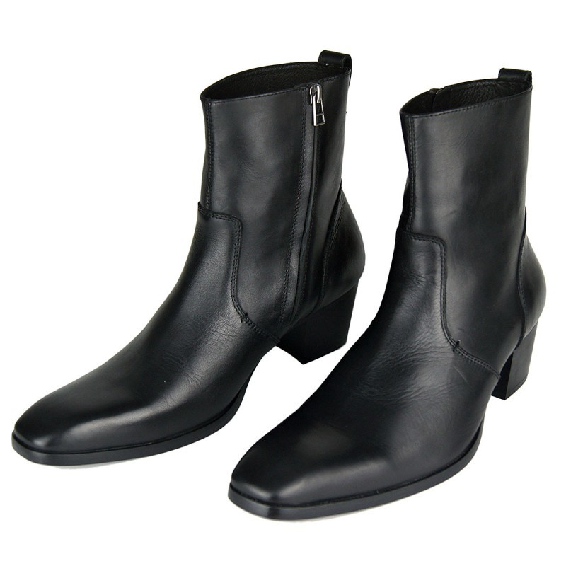 Plus Size 46 Black Mid-Calf Cowboy Boots Men Fashion Side Zip Pointed Toe High Heels Genuine Leather Work Boots Man Footwear