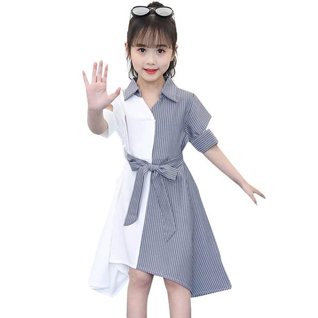 בנות שמלת פסים טלאים המפלגה שמלת לילדה להנמיך צווארון ילדים שמלה עם Bow חגורת סתיו חידוש תלבושות עבור בנות