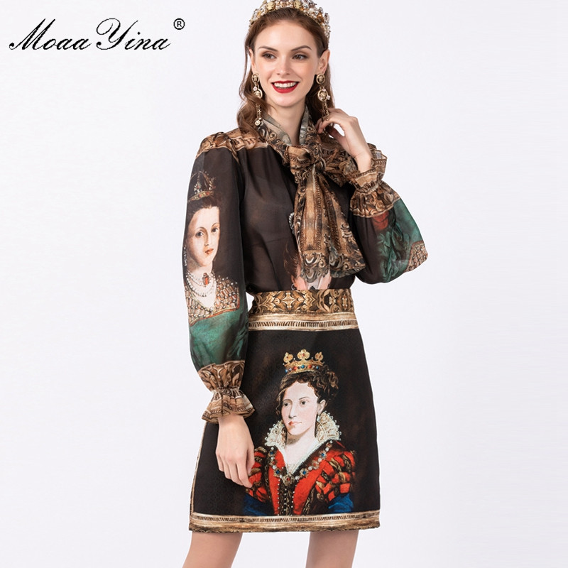 MoaaYina Fashion Designer Set Spring Summer Women Long Sleeve Shirt Tops+Queen Print Skirt Vintage Two-piece Set