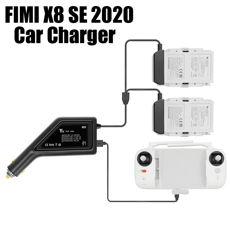 3 in 1 Battery Car Charger USB Charge Adapter for FIMI X8 SE 2020 Drone Remote