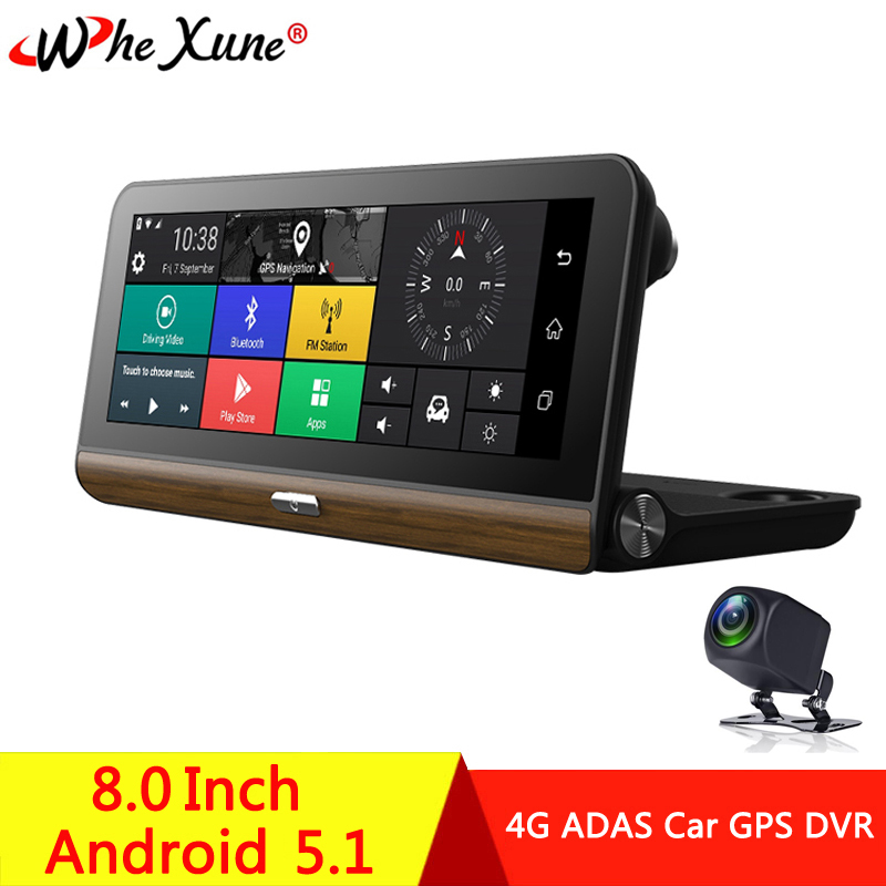 WHEXUNE New 7.80 Android 5.1 Car DVR Camera 4G ADAS GPS Navigator Registrar Video Dash Cam Recorder with two cameras morror image