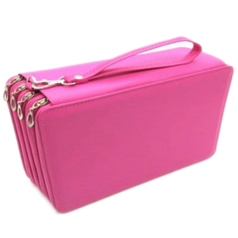 Pu Leather School Pencil Case 184 Hole Large Capacity Color Pencil Bag Box Multi-Function Pencil Box Art Supplies Gifts Rose Red