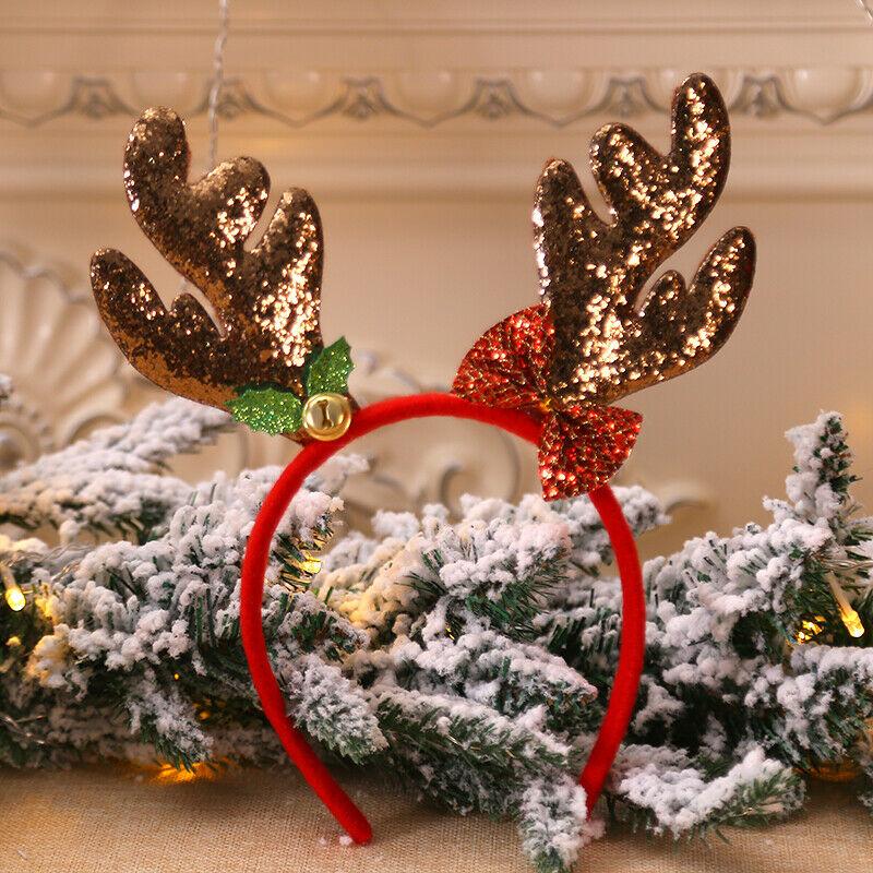 Рождественские повязки на голову для маленьких детей; Нарядная повязка на голову с оленьими рогами; рождественские детские повязки на голову; вечерние головные уборы; популярные аксессуары для волос; подарок - Цвет: Кофе