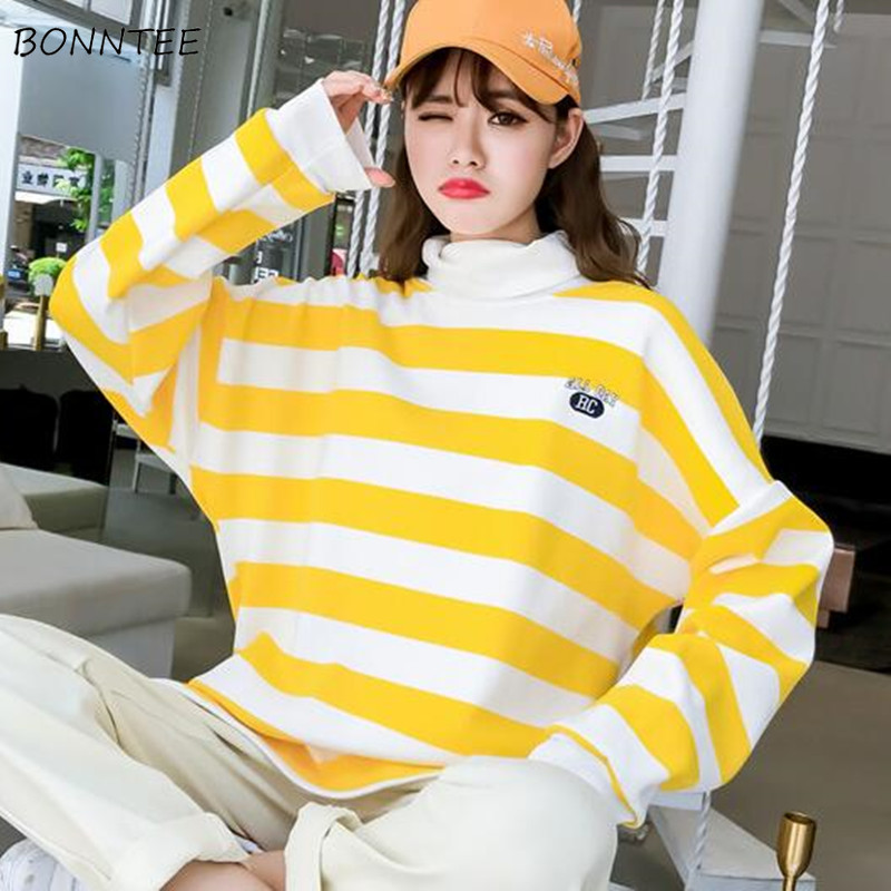 Hoodies Women Soft Loose Sweet Korean Style Pullover Hooded Womens Leisure Long Sleeve Clothing 2020 Chic Striped High Quality