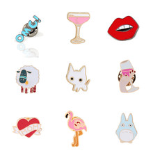 Cartoon Broches Animal Schapen Wijnglas Rode Lippen Emaille Pins Kind Rugzak Badge Jassen Denim Kraag Pin Sieraden Accessoires(China)