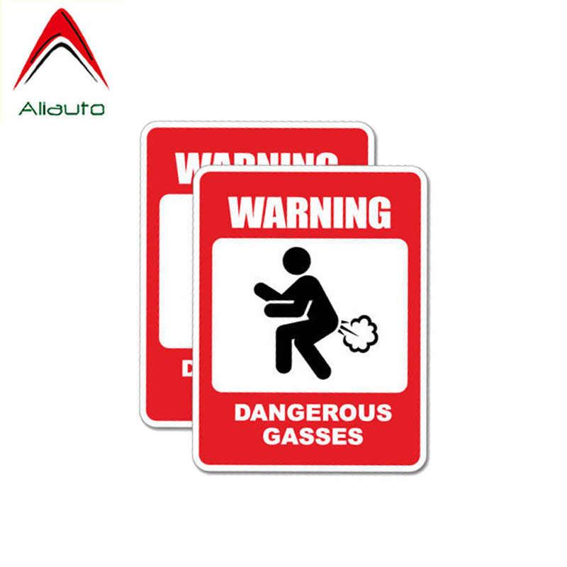 Aliauto 2 X personnalité autocollant de voiture avertissement dangereux gaz accessoires PVC autocollant étanche pour Mazda 3 Subaru Golf 4,9cm * 6cm