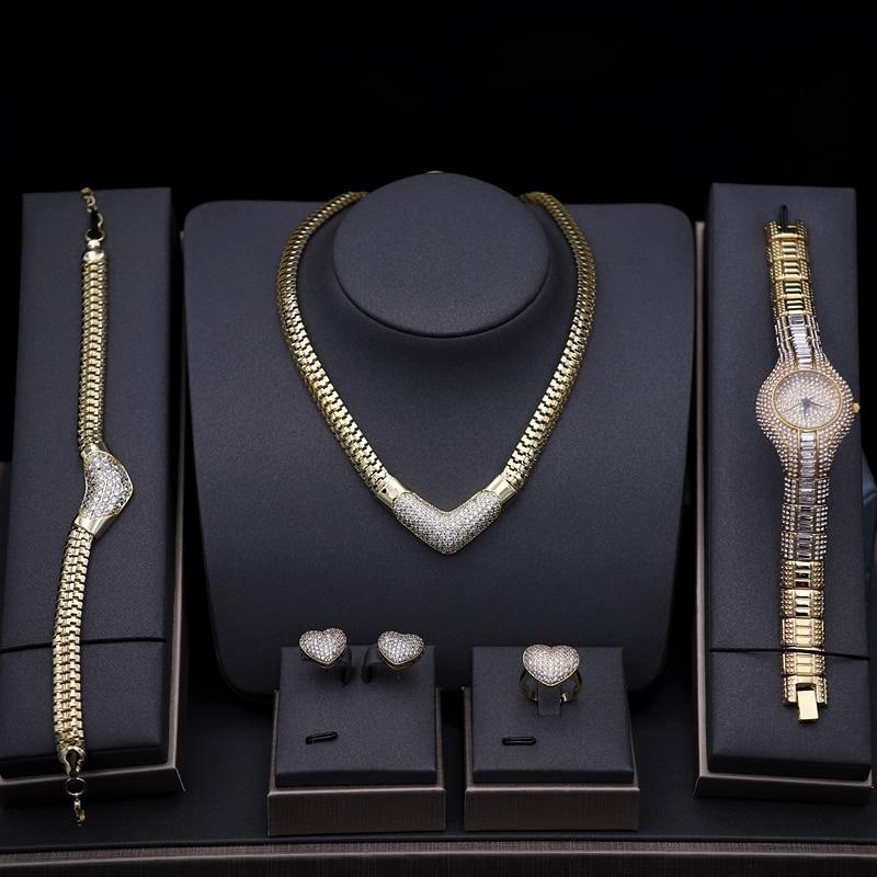 Ensembles de bijoux de femmes de luxe couleur or pavé zircon cubique montre collier boucles d'oreilles Bracelet anneau Combo mariage ensembles de bijoux de mariée