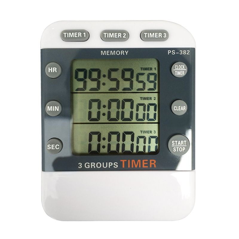 Kitchen Timer Sports Timer 99 Hours 12/24 hour Memory Reminder 3 Channel Count down Timer 3 Groups Timer