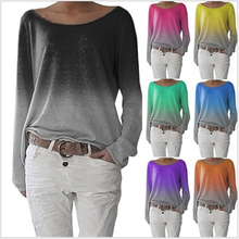 Women Spring Autumn Long Sleeve Tshirt Casual Plus Size S-3XL Gradient Top Tee Female Fashion Tie Dyeing Pullover Clothes O-Neck недорого