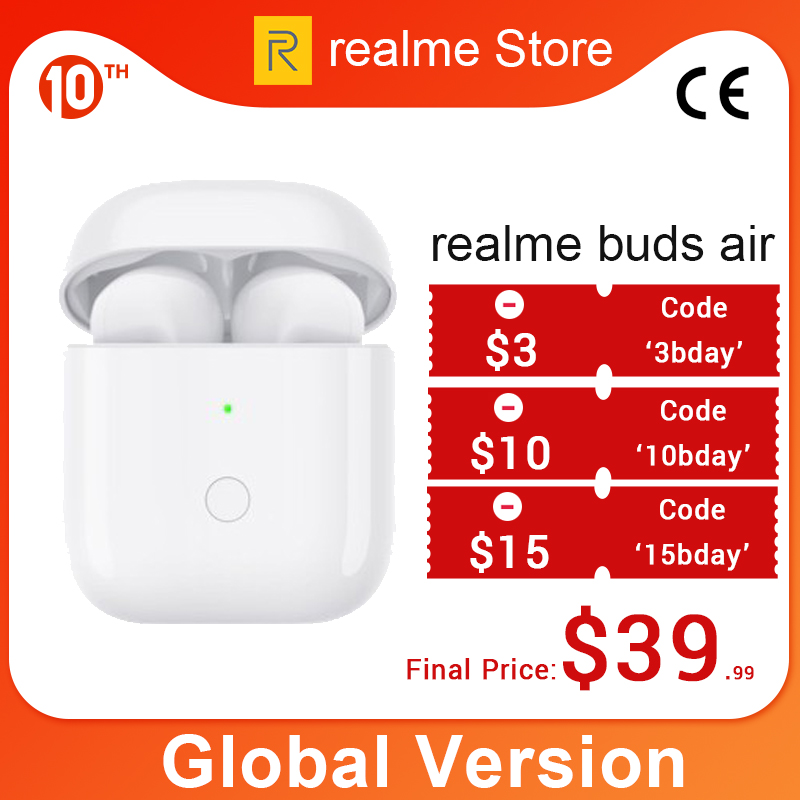 Gloabl Version OPPO Realme Buds Air Wireless Earphones True Wireless Charing R1 Chip Dual Mic For Realme X X2 Pro X50 Pro