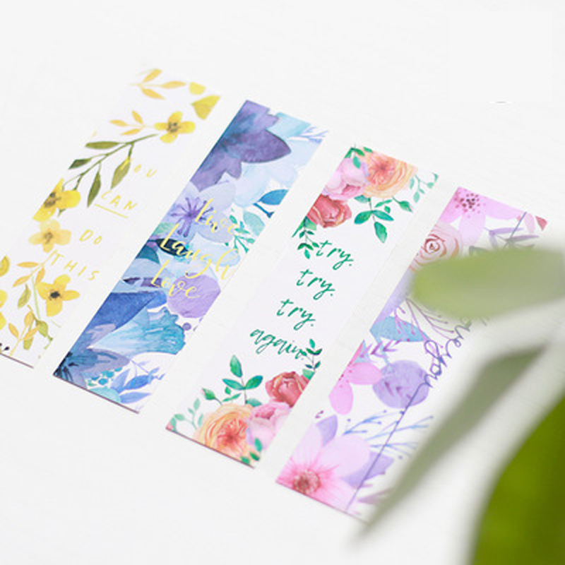 30Pcs/pack Flowers Bookmarks Message Cards Book Notes Paper Page Holder Paper Clip For Kids Gift Korean School Stationery Supply
