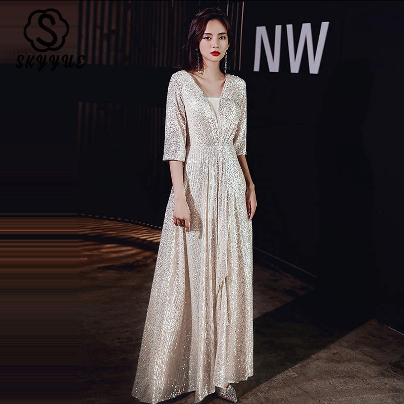 It's YiiYa Formal Dress V-Neck Three Quarter Sleeves Robe De Soiree2020 Eelgant Sequins Plus Size Woman Party Dresses K133