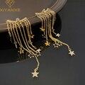 XIYANIKE Geometrische Glänzende Sterne Quaste Ohrringe Lange Stil Elegante Mode Bankett Partei Goldene Ohrringe Baumeln Schmuck Frauen