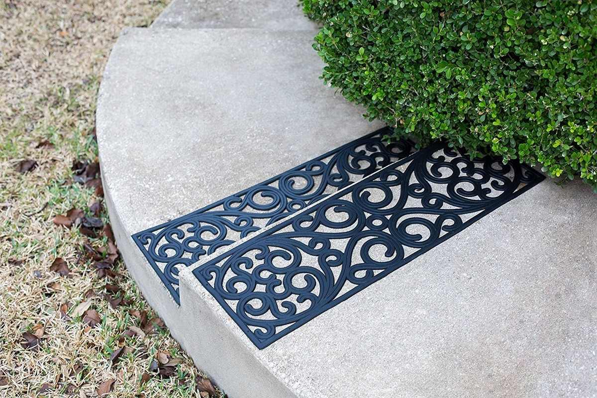 Rubber Stair Treads Outdoor Black Scrollwork Rubber Non Slip Stair | Outdoor Rubber Stair Treads | Outside | Metal Tray | Rectangular Cord Treads | Clear Rubber | Heavy Duty