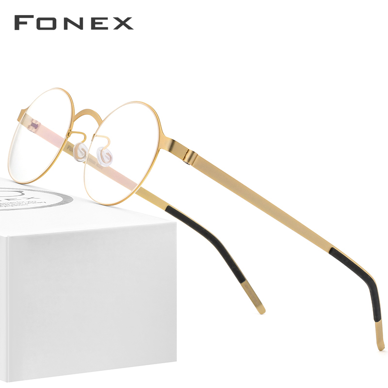 FONEX Handmade Glasses Frame Men Vintage Round Screwless Eyewear Optical Prescription Brand Designer Eyeglasses Women 98626