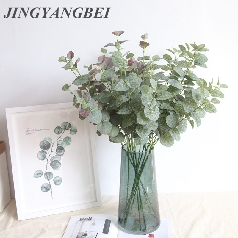 Künstliche Eukalyptus Blatt Blätter Zweig Retro Grün Seide für Home Decor Hochzeit Pflanzen Faux Stoff Laub Zimmer Dekoration