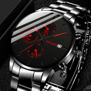 Classic Black Men Steel Band Wrist Watch Luxury Calendar Stainless Steel Quartz Watches Men Business Analog Clock Uhren Herren mce men s fashionable stainless steel band analog mechanical watch silver white