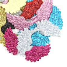20 pçs que bling anjo asa remendos remendo de lantejoulas multicolorido para crianças costurar em roupas diy grampos de cabelo headwear decoração do bolo