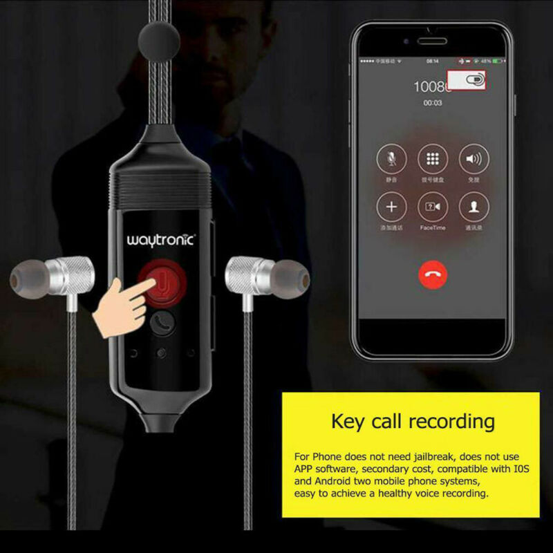 Cellular Phone Call Recorder Earphone for iPhone Android Voice Call Recording US