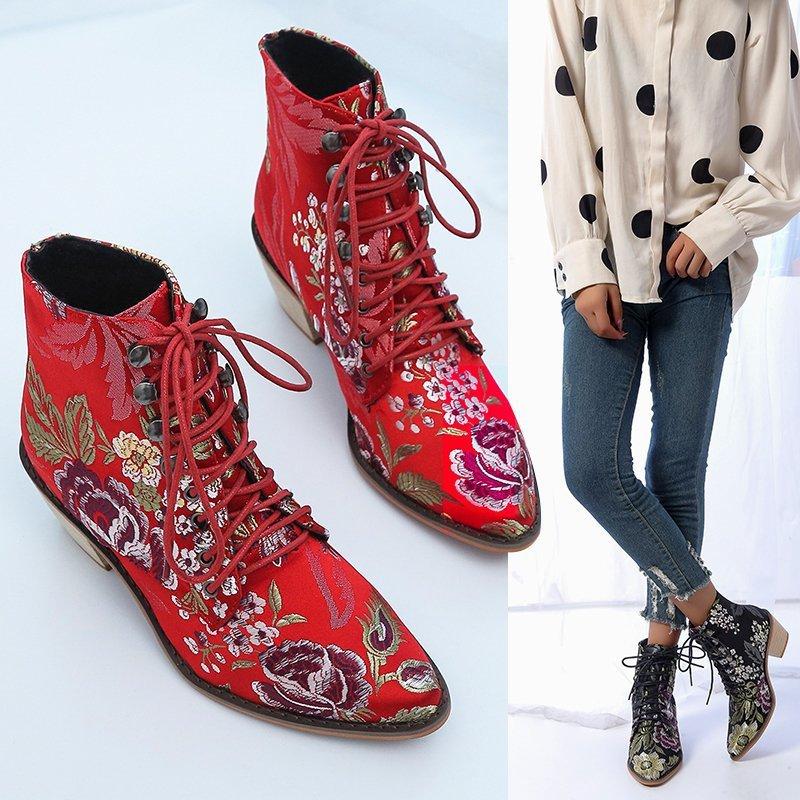 2020 модные Женская обувь в ретро стиле с вышивкой в этническом стиле ботильоны на толстой резиновой подошве со шнуровкой и заостренным носком; Одноцветные туфли на плоской подошве обувь, теплые сапоги; Цвет красный, черный;|Полусапожки|   | АлиЭкспресс