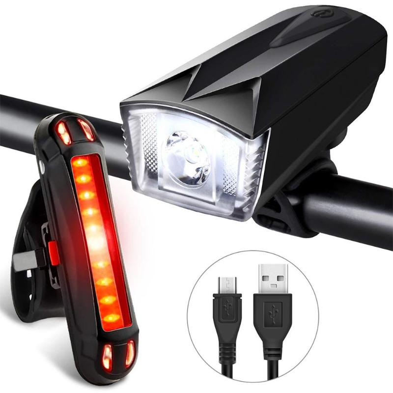 <font><b>Bike</b></font> Bicycle <font><b>Lights</b></font> <font><b>USB</b></font> LED Rechargeable <font><b>Set</b></font> Mountain Cycle Front Back Headlight High Brightness Bicycle Front Flashlight image