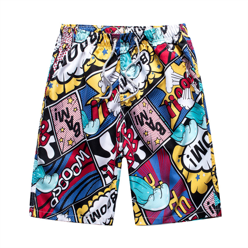 Men Beach Shorts Quick Dry Breathable Loose Print Elastic Casual Short Pants