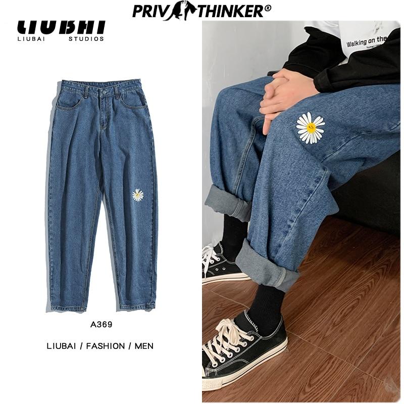 Privathinker Printed Hip Hop Straight Men's Jeans 2020 Spring Fashion Pants Man Casual Collage Harem Vintage Denim Pants S-2XL