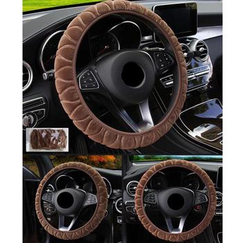38cm pokrowce na kierownicę samochodową samosterujące koło do samochodu Case Super miękki pluszowy elastyczny pokrowiec na samochód dla kobiet Winter Warm tanie i dobre opinie CN (pochodzenie) Plush Kierownice i piasty kierownicy steering wheel steering wheel cover