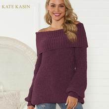 Kate Kasin Boat Neck Pullover Sweater Women Knitted Tops 2019 Autumn Winter Pull Jumper Sweter Off Shoulder Knitwear Ladies(China)