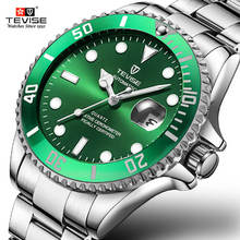 Mens Watches Fashion Casual Brand Tevise Green Mechanical Watch Stainless Steel Waterproof Business Wristwatch Relogio Masculino