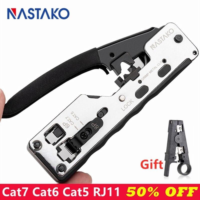 Набор инструментов для обжима RJ45, комбинированный набор инструментов для сетевой связи Cat7 Cat6 Cat5 RJ11 RJ12, модульные заглушки, металлические кл
