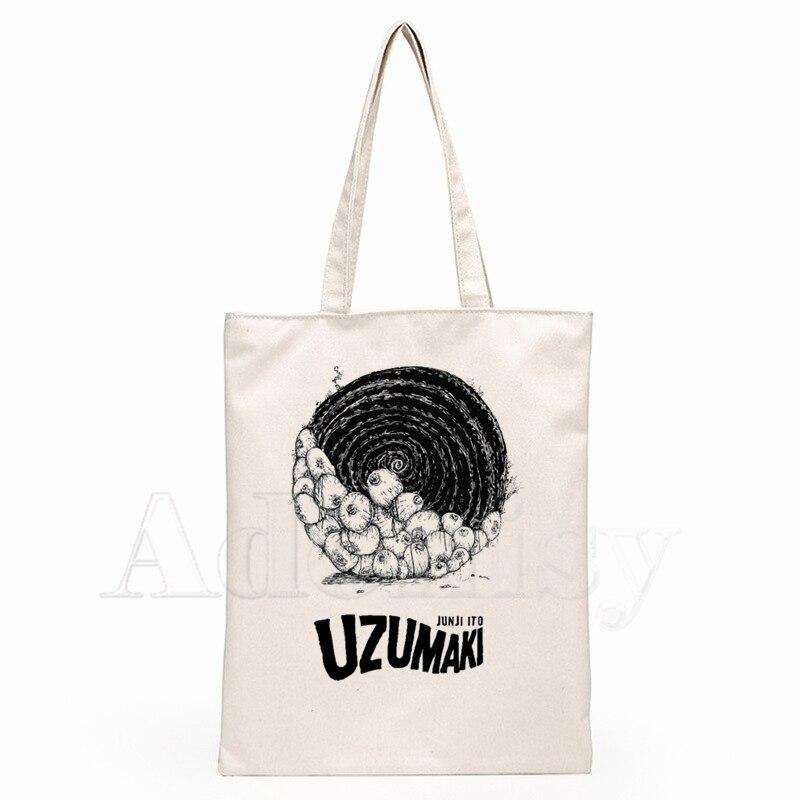 Junji Ito Fashion Canvas Bag Women Girls Simple Large Capacity Storage Handbag Shoulder Bag Tote Reusable Student Bookbag(China)