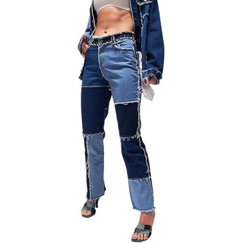 2021 New Patchwork Ripped Pockets High-Waisted Slimming Loose Jeans Women's Fashional Casual High Street Straight-leg Long Pants 1