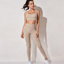 Cintura alta esportes legging ginásio das mulheres roupas esportivas sem costura fitness yoga terno alta elástico conjunto de treino acolchoado sutiã esportivo