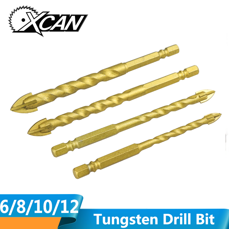 XCAN 1pc 6/8/10/12mm Titanium Coating Tungsten Drill Bit Tile Glass Hole Cutter Hole Opener Cross Head Spiral Drill Bit
