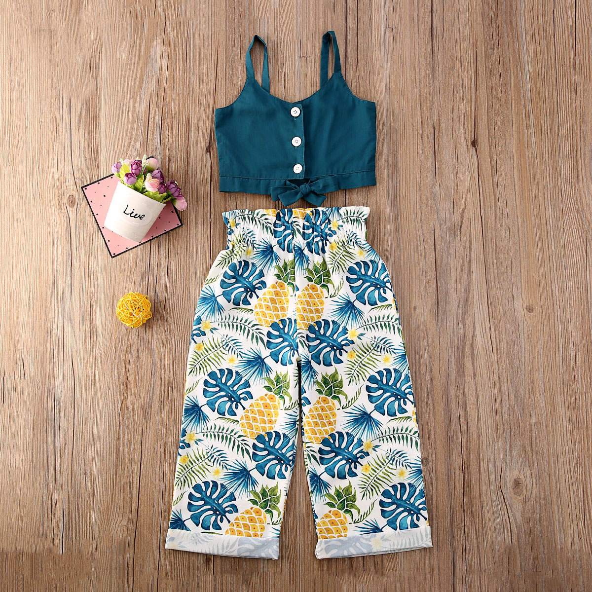 Pudcoco Toddler Baby Girl Clothes Solid Color Strap Button Bowknot Crop Tops Flower Print Long Pants 2Pcs Outfits Clothes